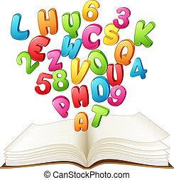 brief, boek, open, getal, kleurrijke