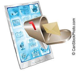 brief, briefkasten, fliegendes, heraus, von, telefon, schirm, begriff