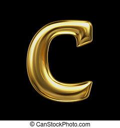 brief c, in, gouden, metaal