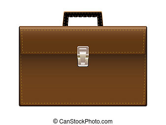 Brown leather briefcase with handle and stictching