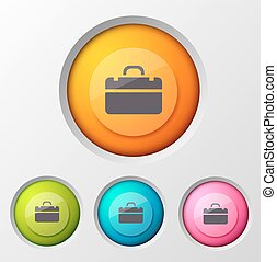 Business concept with infographic brief case pictogram inscribed in gradient round button images of various colour vector illustration