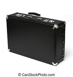 Very high resolution 3d rendering of a black leather brief case.