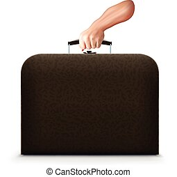 brief case with hand - illustration of realistic hand...