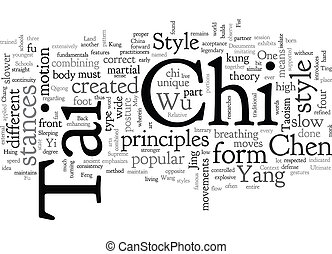 Brief Context of Tai Chi text background wordcloud concept