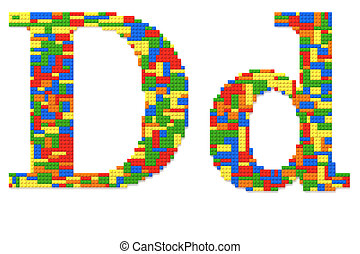 brief, d, gebouwde, van, de bakstenen van het stuk speelgoed, in, willekeurig, toevallig, kleuren