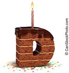 """brief, """"d"""", gevormd, de cake van de chocolade"""