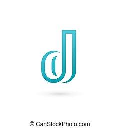 brief, d, logo, ikone, design, schablone, elemente