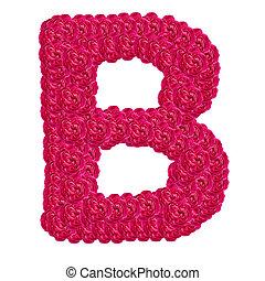 brief, damast, roos, achtergrond, vrijstaand, logo, witte , alfabet, type, alfabet, concept, b