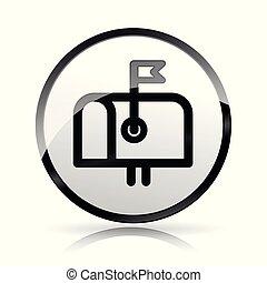 brief doos, pictogram, op wit, achtergrond