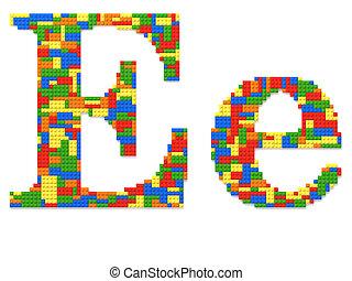brief e, gebouwde, van, de bakstenen van het stuk speelgoed, in, willekeurig, toevallig, kleuren