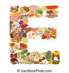 brief e, gemaakt, van, voedingsmiddelen