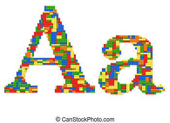 brief een, gebouwde, van, de bakstenen van het stuk speelgoed, in, willekeurig, toevallig, kleuren