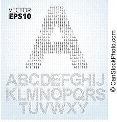 brief, een-z, alfabet, van, binaire code