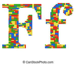 brief f, gebouwde, van, de bakstenen van het stuk speelgoed, in, willekeurig, toevallig, kleuren