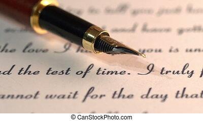 brief, fontijn, liefde, pen