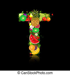 brief, fruit, sappig, vorm, t