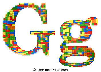 brief g, gebouwde, van, de bakstenen van het stuk speelgoed, in, willekeurig, toevallig, kleuren