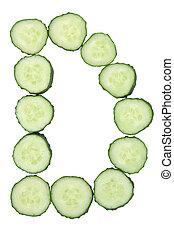 brief, -, gehakte, d, alfabet, groente, komkommer