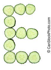 brief, -, gehakte, e, alfabet, groente, komkommer