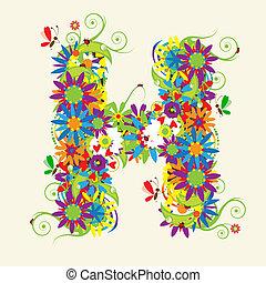 brief h, floral, design., zien, ook, brieven, in, mijn,...