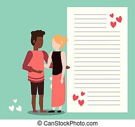 brief, hartjes, interracial paar, schattig, minnaars