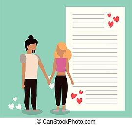 brief, hartjes, paar, schattig, minnaars