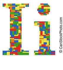 brief, ik, gebouwde, van, de bakstenen van het stuk speelgoed, in, willekeurig, toevallig, kleuren