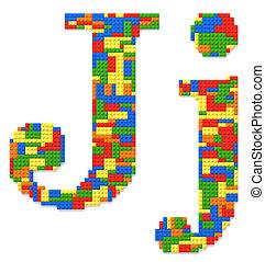 brief, j, gebouwde, van, de bakstenen van het stuk speelgoed, in, willekeurig, toevallig, kleuren