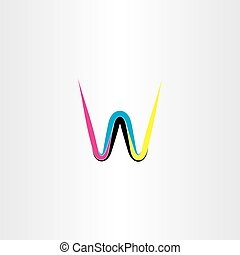 brief, kleurrijke, cmyk, vector, w, logo, pictogram