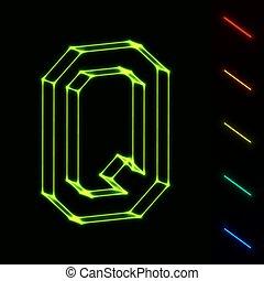 brief, -, leicht, q, wireframe, farbe, eps10, änderung, glühen