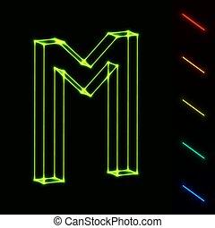 brief, -, leicht, wireframe, farbe, eps10, änderung, glühen, m