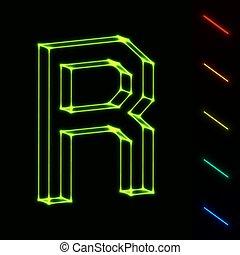brief, -, leicht, wireframe, farbe, eps10, änderung, glühen, r