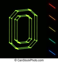 brief, -, leicht, wireframe, o, farbe, eps10, änderung, glühen