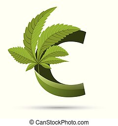 brief, logo, cannabis, grün, c, blatt
