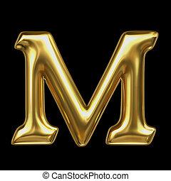 brief m, in, gouden, metaal