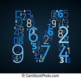 brief m, vector, lettertype, van, getallen
