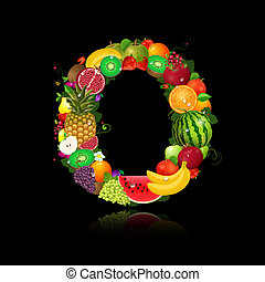 brief, o, fruit, sappig, vorm