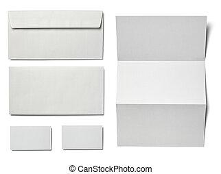 brief, papierkarte, leer, schablone, weißes, blättchen, ...