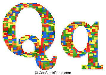 brief, q, gebouwde, van, de bakstenen van het stuk speelgoed, in, willekeurig, toevallig, kleuren
