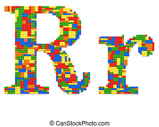 brief, r, gebouwde, van, de bakstenen van het stuk speelgoed, in, willekeurig, toevallig, kleuren