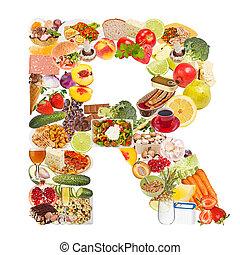 brief, r, gemaakt, van, voedingsmiddelen