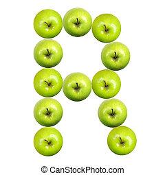 brief, r, gemacht, von, äpfel