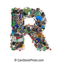 brief, r, gemacht, von, elektronisch, komponenten