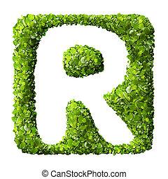 brief, r, gemacht, von, grüne blätter