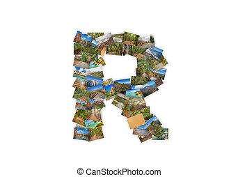 brief, r, uppercase, lettertype, vorm, alfabet, collage, gemaakt, van, mijn, best, landscape, photographs., versie, 2.