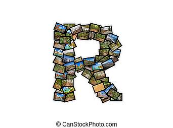 brief, r, uppercase, lettertype, vorm, alfabet, collage, gemaakt, van, mijn, best, landscape, photographs., versie, 3.