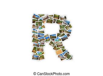 brief, r, uppercase, lettertype, vorm, alfabet, collage, gemaakt, van, mijn, best, landscape, photographs., versie, 1.