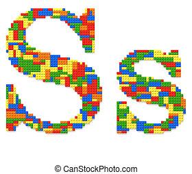 brief s, gebouwde, van, de bakstenen van het stuk speelgoed, in, willekeurig, toevallig, kleuren