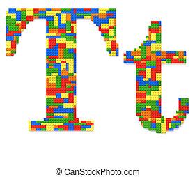 brief, t, gebouwde, van, de bakstenen van het stuk speelgoed, in, willekeurig, toevallig, kleuren