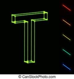 brief, -, t, leicht, wireframe, farbe, eps10, änderung, glühen